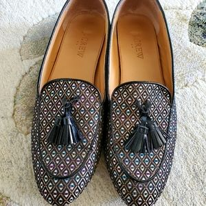 J. Crew Red Charcoal Medallion Jacquard loafers